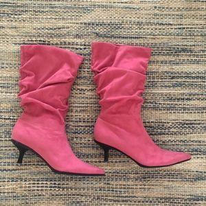 Pink Pointed Calf Boots Low Heel